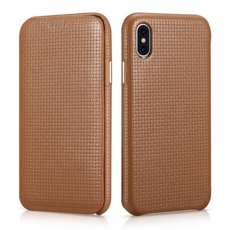 ICARER Woven Pattern Series Curved Edge Real Leather Folio Case for iPhone XS - Brown