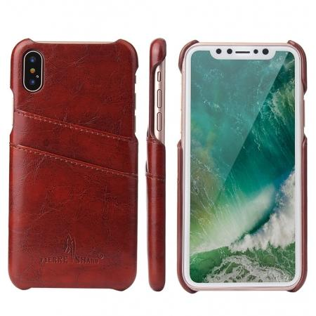 Oil Wax Style Insert Card Leather Back Case Cover for iPhone XS - Brown