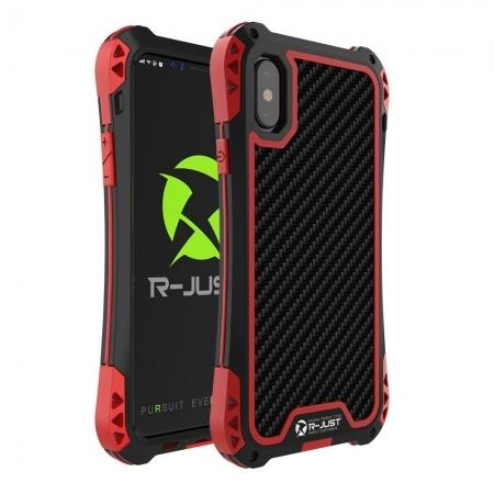 Shockproof DropProof DirtProof Carbon Fiber Metal Gorilla Glass Armor Case for iPhone XR - Black&Red