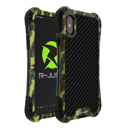 Shockproof DropProof DirtProof Carbon Fiber Metal Gorilla Glass Armor Case for iPhone XR - Camouflage