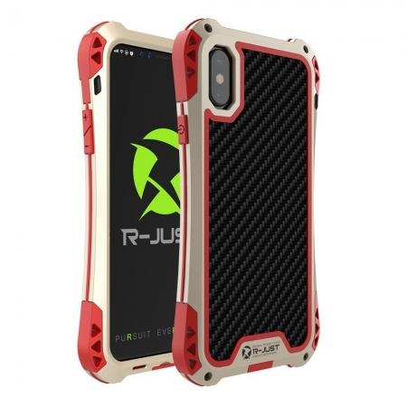 Shockproof DropProof DirtProof Carbon Fiber Metal Gorilla Glass Armor Case for iPhone XR - Gold&Red