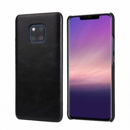 Matte Genuine Leather Back  Case Cover for Huawei Mate 20 Pro - Black