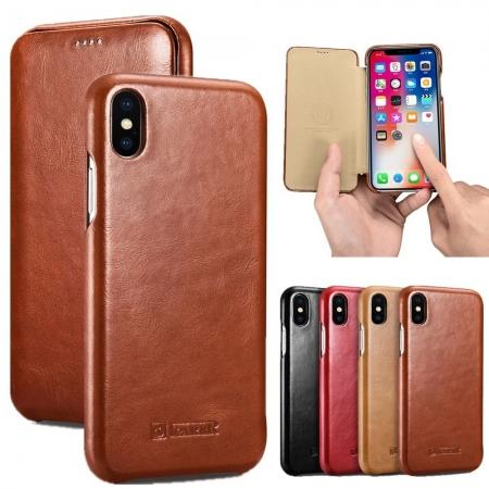ICARER Vintage Case For iPhone XS Max / XS / XR / X / Samsung Note 9 Curved Edge Flip Real Leather
