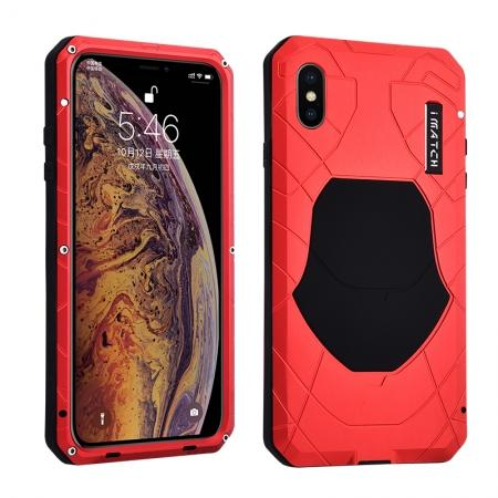 For iPhone XS Max Luxury Waterproof Shockproof Aluminum Metal Tempered Glass Case - Red