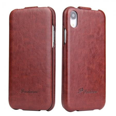 Crazy Horse Pattern Leather Case for iPhone XR - Brown