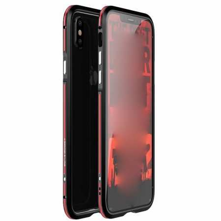 Dual Color Aluminum Metal Frame Case for iPhone XS Max - Red&Black