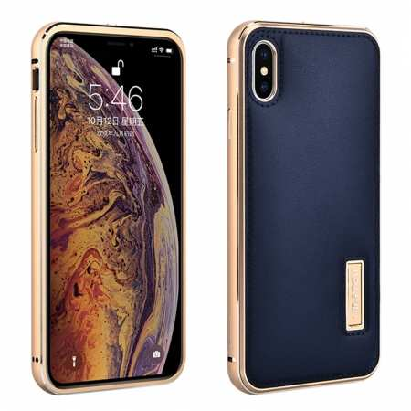 Aluminum Metal Genuine Leather Case for iPhone XS Max - Gold&Dark Blue