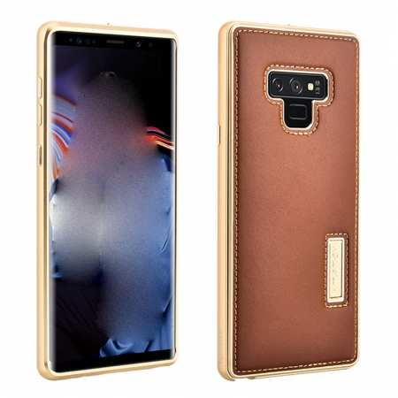 For Samsung Galaxy Note 9 Deluxe Aluminum Metal Genuine Leather Protective Back Case - Gold&Brown