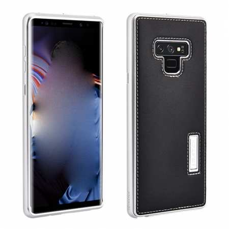 For Samsung Galaxy Note 9 Deluxe Aluminum Metal Genuine Leather Protective Back Case - Silver&Black
