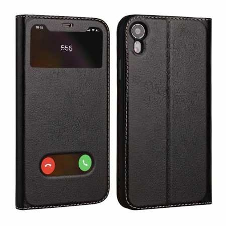 Luxury Double Window Genuine Leather Flip Case for iPhone XR - Black