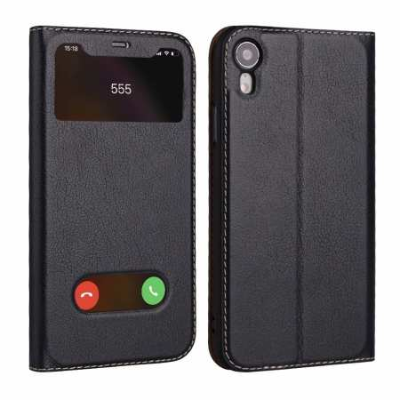 Luxury Double Window Genuine Leather Flip Case for iPhone XR - Dark Blue