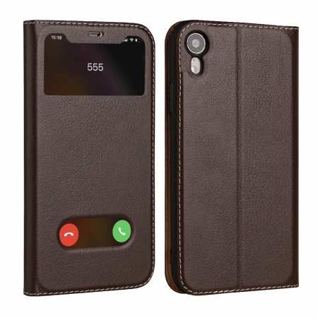 Luxury Double Window Genuine Leather Flip Case for iPhone XR - Brown