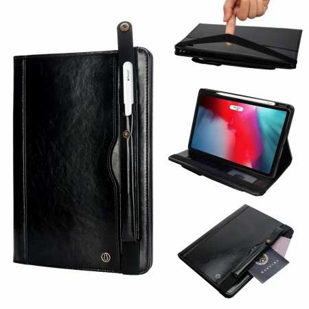 Business Smart Sleep/Wake Stand Leather case For iPad pro 11-inch - Black