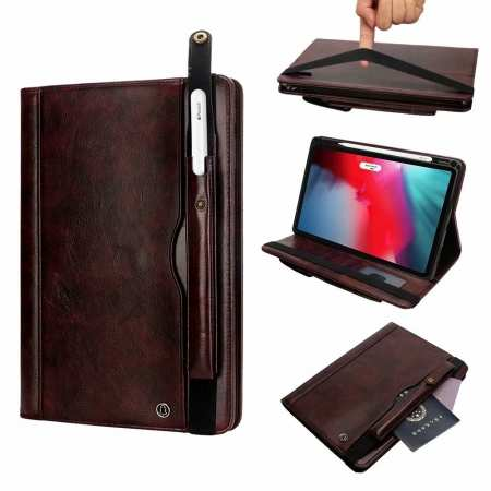 Business Smart Sleep/Wake Stand Leather case For iPad pro 11-inch - Dark Brown