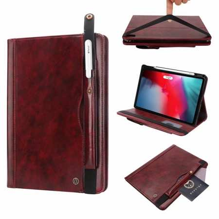 Business Smart Sleep/Wake Stand Leather case For iPad pro 11-inch - Wine Red