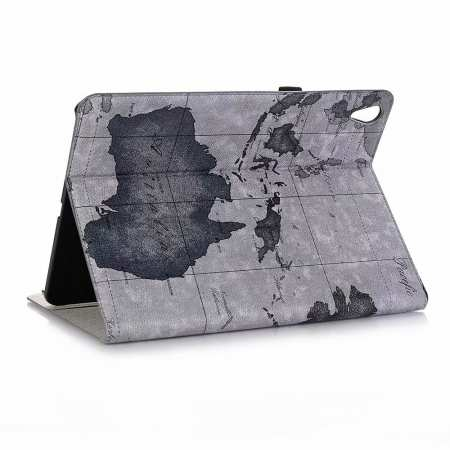 World Map Stand Flip Leather Case for iPad Pro 11-inch - Grey