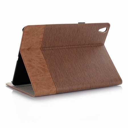 Cross Pattern Folio Wallet Leather Case for iPad Pro 11-inch - Brown