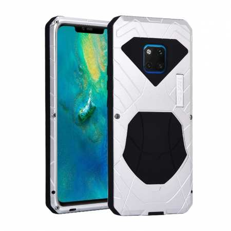 Shockproof Aluminum Metal Kickstand Case for Huawei Mate 20 Pro - Silver