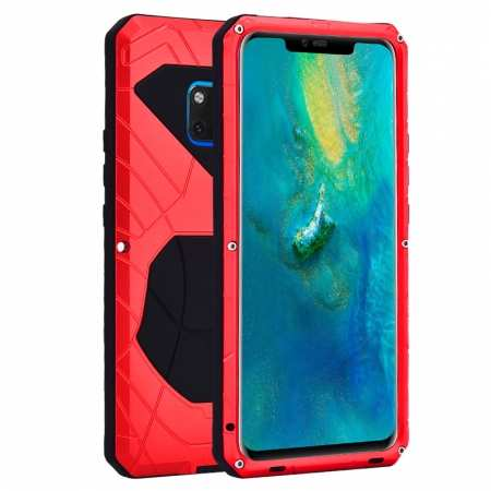 Shockproof Aluminum Metal Kickstand Case for Huawei Mate 20 Pro - Red