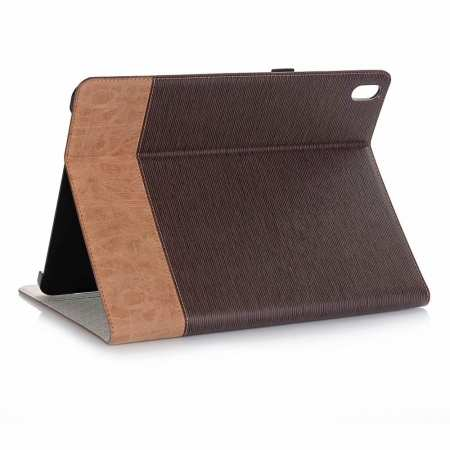 "Cross Pattern Stand Smart Leather Case for iPad Pro 12.9"" 2018  - Coffee"