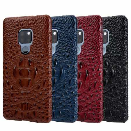 3D Crocodile Head Grain Genuine Leather Back Case for Huawei Mate 20 Series