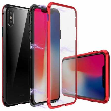 Magnetic Metal Tempered Glass Full Case for iPhone XS/X - Black&Red