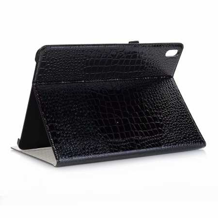 "Luxury Crocodile Pattern Stand Leather Case for iPad Pro 12.9"" 2018 - Black"