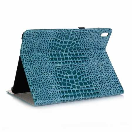 "Luxury Crocodile Pattern Stand Leather Case for iPad Pro 12.9"" 2018 - Blue"