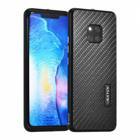 Shockproof Aluminium Metal Carbon Case for Huawei Mate 20 Pro - Black
