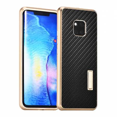 Shockproof Aluminium Metal Carbon Case for Huawei Mate 20 Pro - Gold&Black