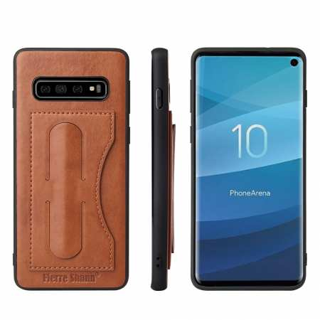 Stand Leather Back Case For Samsung Galaxy S10 - Brown