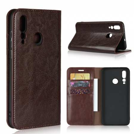 Genuine Leather Wallet Card Holder Case Magnetic Cover for Huawei Nova 4 - Coffee