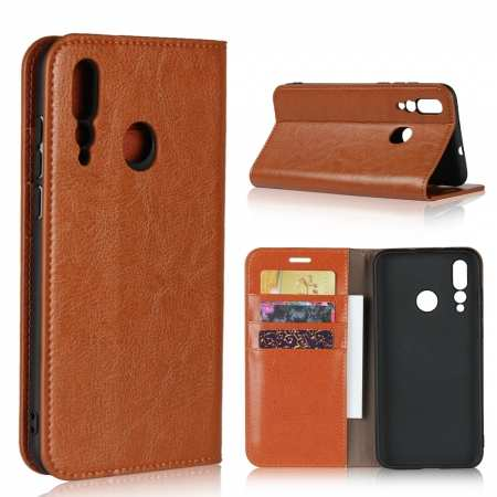 Genuine Leather Wallet Card Holder Case Magnetic Cover for Huawei Nova 4 - Brown