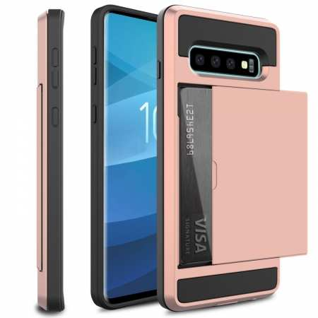 For Samsung Galaxy S10 Plus/S10E/Lite Case Cover With Card Wallet Holder Slot - Rose Gold