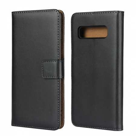 Genuine Leather Wallet Stand Flip Card Case Cover For Samsung Galaxy S10/S10E/S10 Plus - Black