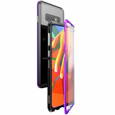 For Samsung Galaxy S10  Full Protection Magnetic Metal Tempered Glass Case - Black&Purple