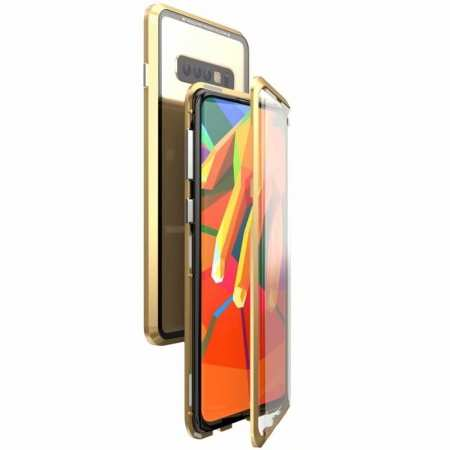 For Samsung Galaxy S10  Full Protection Magnetic Metal Tempered Glass Case - Gold