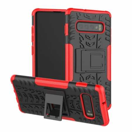 Shockproof Armor TPU Hard Stand Case For Samsung Galaxy S10 - Red