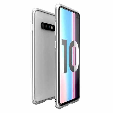 Shockproof Aluminum Metal Bumper Case for Samsung Galaxy S10 Plus - Silver