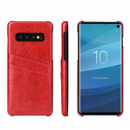 For Samsung Galaxy S10 Oil Wax Leather Credit Card Holder Back Case Cover - Red
