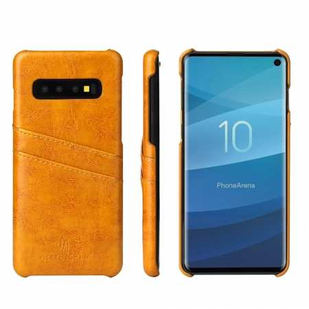 For Samsung Galaxy S10 Oil Wax Leather Credit Card Holder Back Case Cover - Yellow