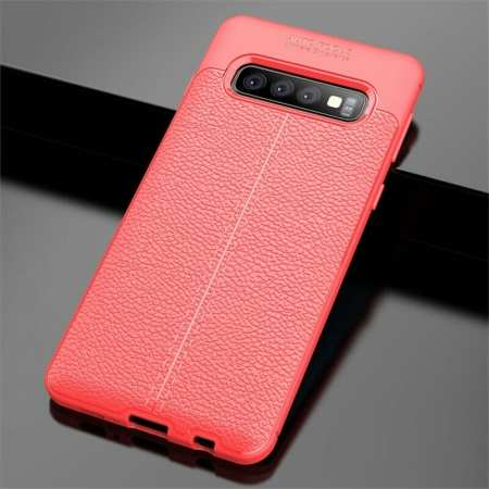 For Samsung Galaxy S10 Shockproof TPU Leather Back Case Cover - Red