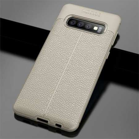 For Samsung Galaxy S10 Shockproof TPU Leather Back Case Cover - Grey