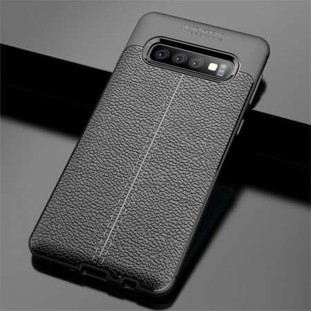 For Samsung Galaxy S10 Shockproof TPU Leather Back Case Cover - Black