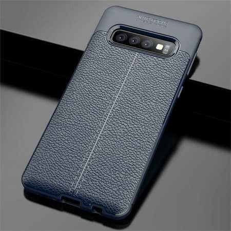 For Samsung Galaxy S10 Shockproof TPU Leather Back Case Cover - Navy Blue