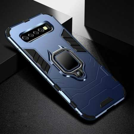 For Samsung Galaxy S10 Plus Hybrid Magnetic Ring Holder Hard Case Cover - Navy