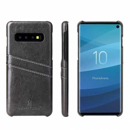 Case for Samsung Galaxy S10e Oil Wax Leather  Back Cover - Dark Grey