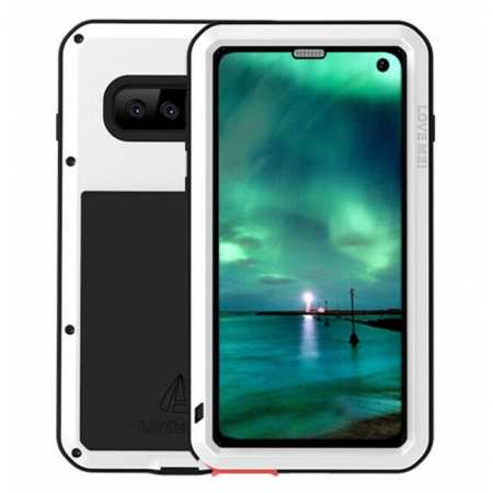 For Samsung Galaxy S10E Gorilla Glass Aluminum Metal Case Cover - White