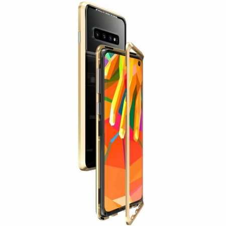 Case For Samsung Galaxy S10 Plus Magnetic Adsorption Metal Frame + Tempered Glass Back Cover - Gold