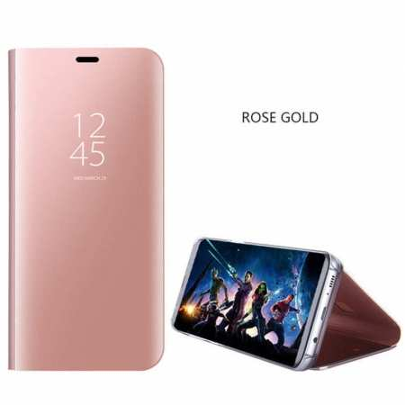 For Samsung Galaxy S10 Smart Clear Mirror Leather Stand Case Cover - Rose Gold